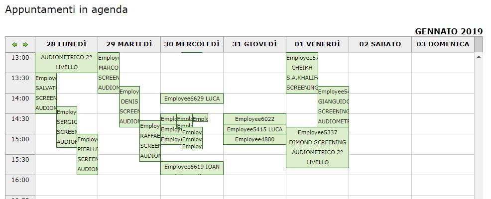Agenda - Appuntamenti in agenda