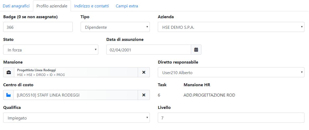 Modello Organizzativo - Dettaglio dipendente - Profilo aziendale