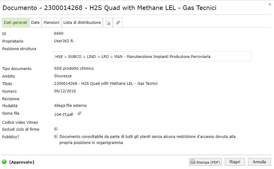 Documenti - Dati generali di una scheda di sicurezza per prodotto chimico