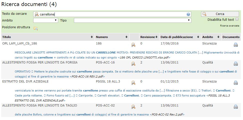 Documenti - Ricerca documenti con funzioni full text