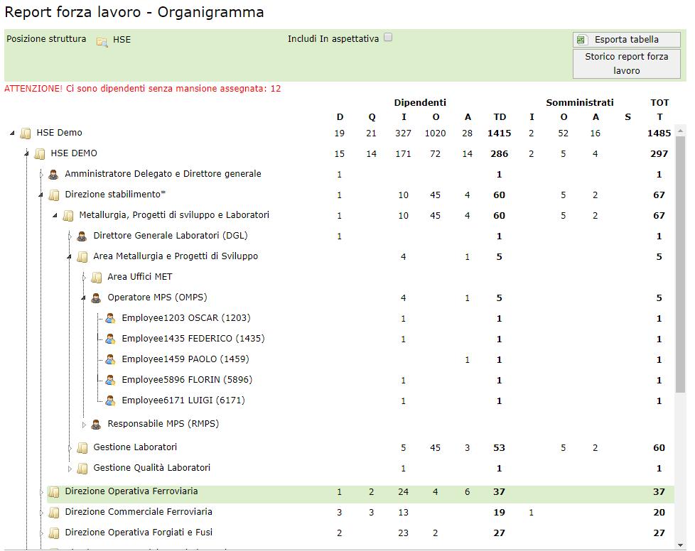 Modello Organizzativo - Forza Lavoro organigramma