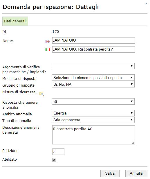 Ispezioni - Configurazione di una domanda per l'ispezione