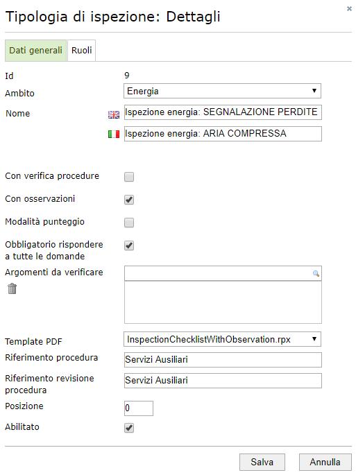 Ispezioni - Configurazione di una tipologia di ispezione