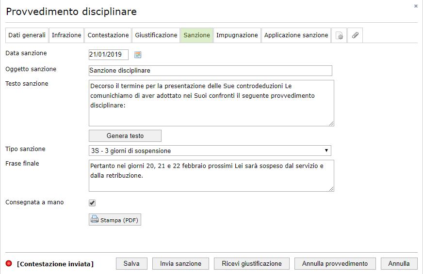 Sistema disciplinare -Sanzione relativa ad un provvedimento disciplinare