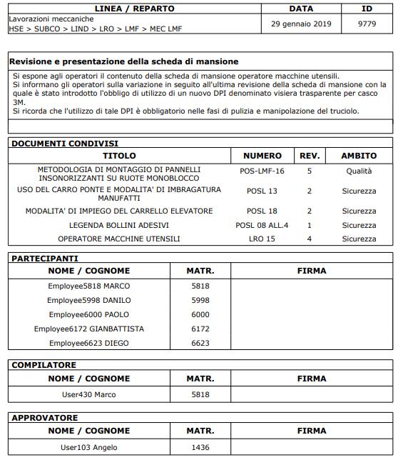 Verbali - Estratto della stampa PDF di un verbale con il foglio firme associato